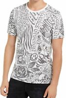 Guess Mens T-Shirt White Grey Size Large L Animal Collage Graphic Tee $39- 223