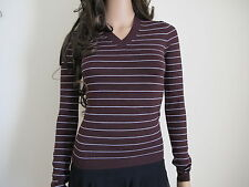 """Calvin Klein Jeans"" New Lady's Brown Stripe Jumpers Knitted Top Size L- UK 8"
