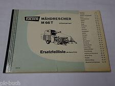 Teilekatalog / Ersatzteilliste Fahr Mähdrescher M 66 T