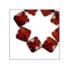 10 CZ Rhombus Square Beads 7mm Dark Garnet Red #64797
