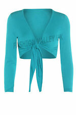 WOMENS TIE KNOT SHRUG SHORT LADIES CROP CARDIGAN WRAP BOLERO TOP PLUS SIZE 8-26