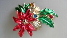 Vintage BJ Christmas Brooch Pin Signed Poinsettia Gold Tone Enamel Rhinestones