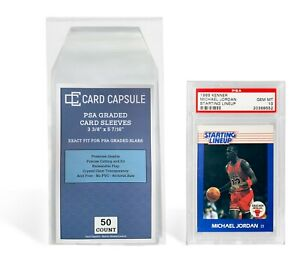 50 Count Graded Card Sleeves Exact Fit for PSA Slabs Resealable Sleeves Bags.