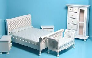 Dollhouse Miniature 5 Piece Bedroom Set in White with Settee and Wardrobe T0132