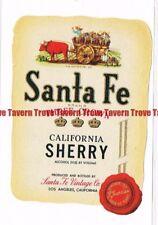 Unused 1940s CALIFORNIA Los Angeles SANTA FE THRE CROWN SHERRY Wine Label