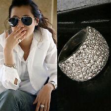 Mode Frauene Silber Kristall Strass Edelstahl Schön Reiz Breit Ringe  Größe 7