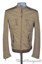 DSQUARED Olive Brown Khaki Cotton Mens Moto Jacket Coat - EU 46 / US 36