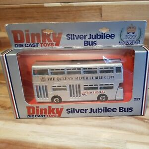Vintage Dinky Toys No. 297 1977 Silver Jubilee Double Decker Bus Boxed