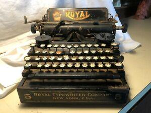 Vintage Royal No 5 Flatbed Standard Typewriter Restoration Project/Parts