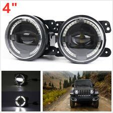 "Universal 12V 4"" 30W LED Round Fog Lights White Angel Eyes Halo Ring Lamp 2000LM"