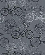 Rasch Portfolio Bicycle/Bikes Wallpaper- Black & Silver on Grey 280821