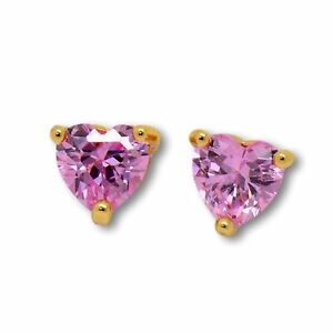 Womens Heart Stud Earrings with Pink CZ Crystals 18ct Gold Filled