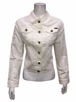 Isaac Mizrahi Womens TRUE DENIM Cropped Length Jeans Jacket Bright White Size 16