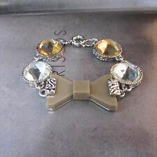 NEW Urban Anthropologie Tan Bow Tie White Gold Stone Bracelet