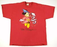 VTG 1996 Walt Disney World 25th Anniversary T Shirt Mens XXL Red Mickey Mouse
