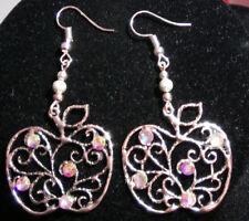 Apple earrings drop dangle filigree vintage rhinestone