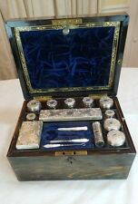 ANTIQUE ENGLISH VANITY TRAVEL BOX  1860'S ALL MARK THOMAS WHITEHOUSE SILVER
