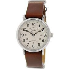 Timex Men's Weekender T2P495 Brown Leather Analog Quartz Fashion Watch