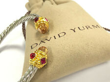 David Yurman Renaissance Citrine Red Garnet 14K Gold Classic Twisted Bracelet