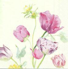 2 Serviettes en papier Fleurs Tulipe fond vert Paper Napkins Helen Tulip