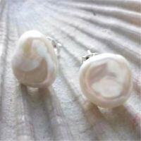 Genuine Cultured Freshwater 10-11mm White Pearl Silver Stud Earrings Luxury
