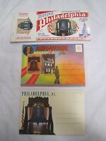 Lot of 3 Vintage Postcard Souvenir Folder Booklets PHILADELPHIA, PA  *