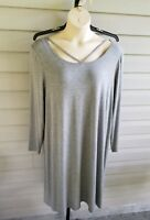 Boutique Casual Tank Dress A-Line Shift Long Sleeve Stretchy Plus size NWT