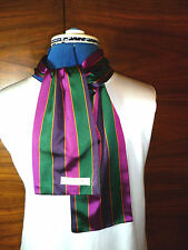 100% woven silk mens cravat/scarf Deep purple/bottle green/puce/gold stripes NEW