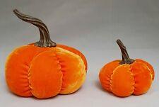 "Halloween Orange Pumpkin Set 2 Table Velvet Fabric Plush Window Fall Decor 4-6"""