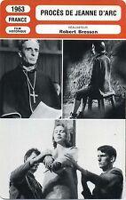 Movie Card. Fiche Cinéma. Procès de Jeanne d'Arc (France) Robert Bresson 1963