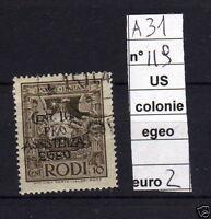 FRANCOBOLLI ITALIA COLONIE EGEO USATI N°119 (A31)