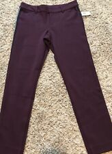 Old Navy NEW NWT Mid-Rise Ponte-Knit Side-Stripe Pixie Ankle Pants 2P Burgundy