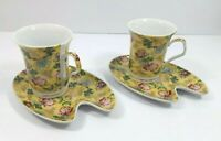 Adeline Fine Porcelian Collectible Tea Cup and Saucer Yellow Floral Flowers