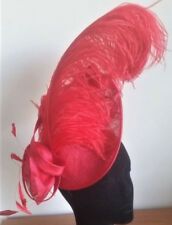 EXQUISITE HANDMADE RED SINAMAY FASCINATOR WITH LARGE OSTRICH FEATHER & FLOWER