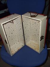 VINTAGE 1950'S METAL WHITE AND RED DOLL CASE/TRUNK 12 X 6.5 GOOD CONDITION