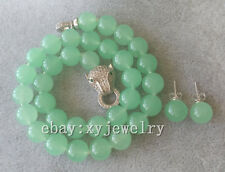 10mm light green jade fashion necklace 17 inch Leopard head clasp &stud earrings
