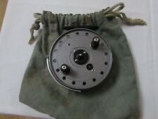 "V good vintage JW youngs trudex centrepin trotting fishing reel 4"" + pouch"