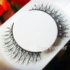 New Party Fancy Rhinestone Black Crisscross False Eyelashes Eye Lashes Makeup