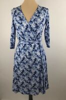 Market & Spruce Dexter Faux Wrap Dress Size Small Blue White Abstract Print