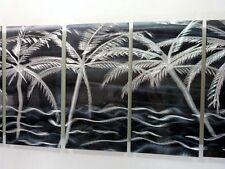 Black/Silver Tropical Metal Abstract Modern Nautical Wall Art - Night Fall XL