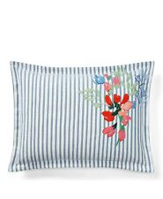 "NW RALPH LAUREN Maggie Stripe 15""x20"" Decorative Throw Pillow Cotton Blue  $135"