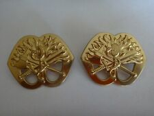 Lot Of 2 Military Gold Tone Metal Belt BUCKLES
