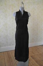 Naf NAF ramio Maxi vestido largo negro de línea 38 UK10 ranuras laterales & Nehru Cuello