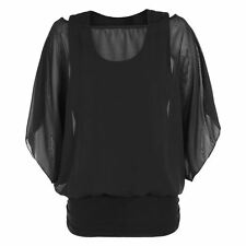 Womens Over Size 2 in 1 Chiffon Ladies Blouse Batwing Tops Size UK 8-26