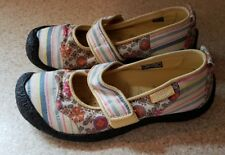 Keen Womens 6 Harvest Mary Jane Flats Casual Shoes Yellow Stripe Floral canvas