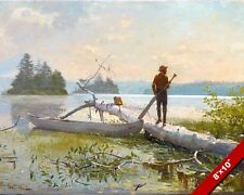 THE TRAPPER & HIS CANOE ON THE LAKE OIL PAINTING ART REAL CANVAS GICLEE PRINT