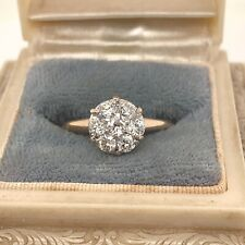 Antique Diamond Cluster Old Minor Engagement Ring