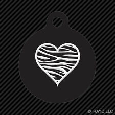 Zebra Print Heart Keychain Round with Tab dog engraved many colors