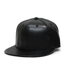 NEW Faux Leather Flat Brim Adjustable Strapback Baseball Cap (Black)