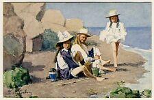 3 GIRLS AT THE SEA  / MÄDCHEN AM MEER * Vintage TUCK'S PC #9047 E van Goethem